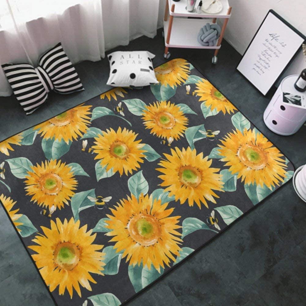 Area Rug Premium Modern Mat Machine Washable Cozy Floor Mat for Office, Dining Room, Indoor Floor Carpet Sunflower (43) 5 Rug