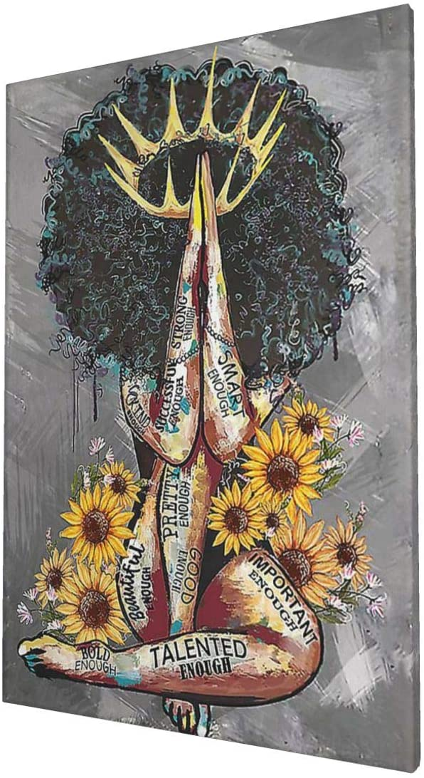 African American Wall Art Black Queen Girl Portrait and Sunflowers Gray Art Modern Abstract Canvas Prints Painting Framed Artwork Wall Decor 16x24inch Home Decoration for Bedroom Living Room