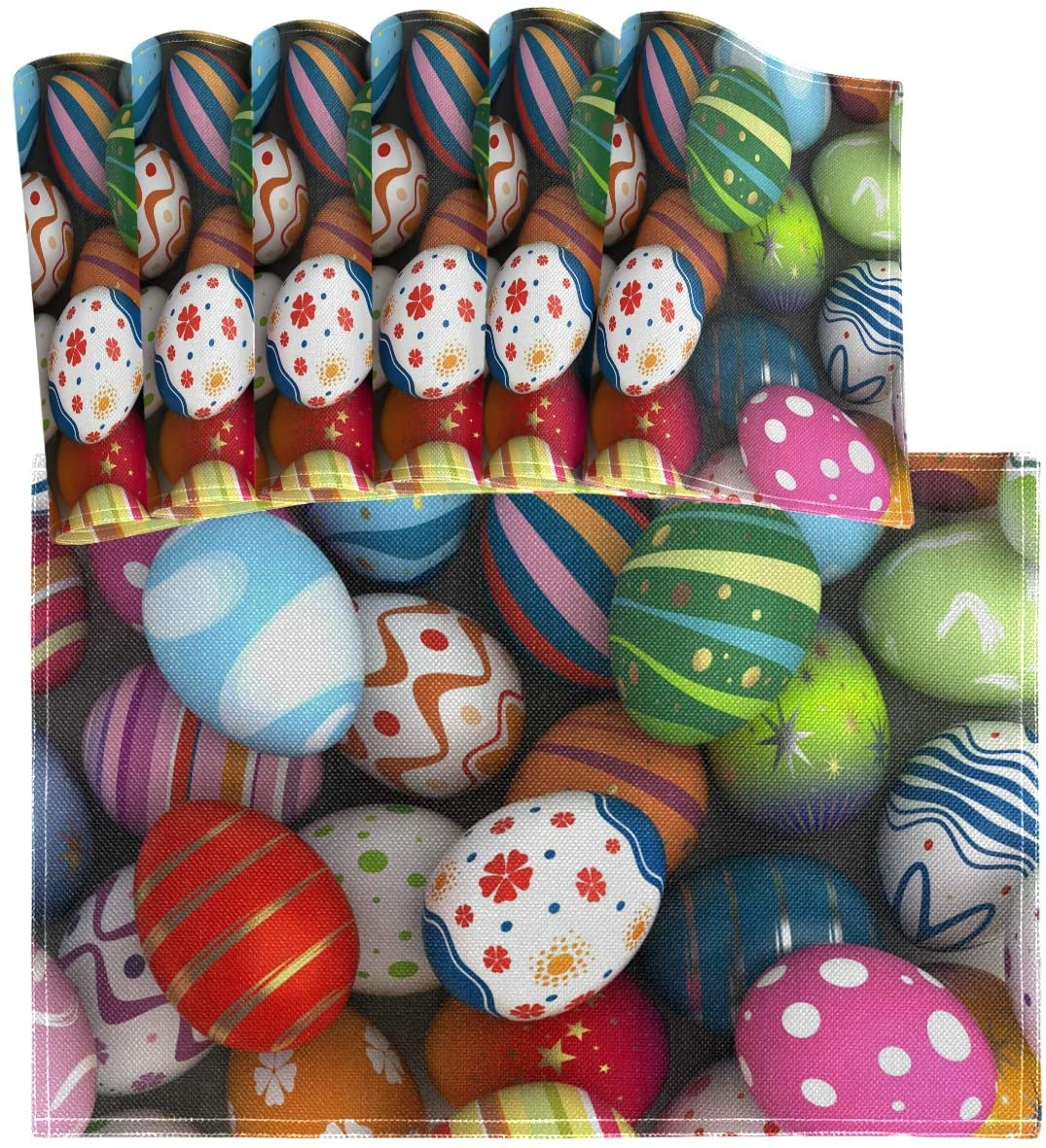 Oarencol Easter Colorful Eggs Placemat Table Mats Set of 6, Heat-Resistant Washable Clean Kitchen Place Mats for Dining Table Decoration