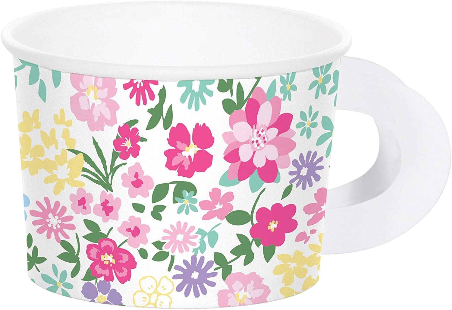 Club Pack of 96 Green and Pink Floral Tea Party Treat Cups