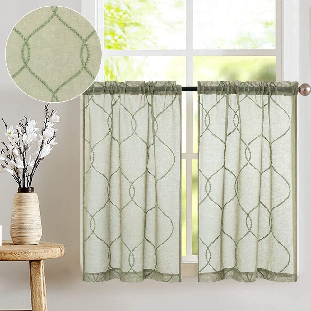 Kitchen Curtains 24 inch L Sage 2 Pcs Moroccan Trellis Pattern Embroidered Semi Sheer Kitchen Tier Curtains for Bathroom