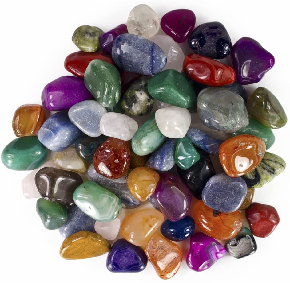 Hypnotic Gems Colorful Natural and Dyed Tumbled Stone Mix - 25 Pcs - Large Size - 1.25