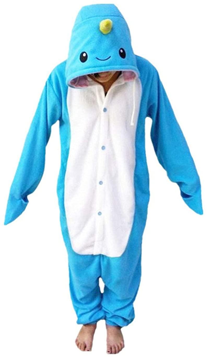 LAYSHOW Adult Unisex Animal Cosplay Pajamas Narwhal Costumes Homewear Onesie