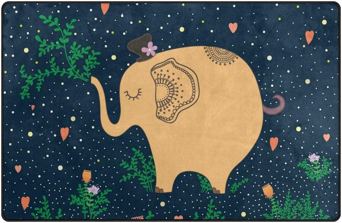 Ollabaky Elephant Starry Area Rug Carpet Comfort Non-Slip Floor Mats Living Room Carpet for Home Indoor Decor