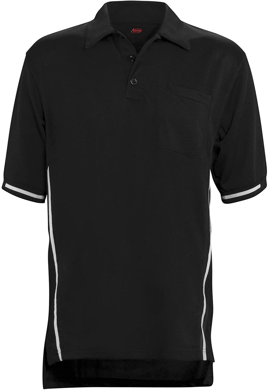 ADAMS USA Short Sleeve Baseball Umpire Shirt with Side Stripe - Sized for Chest Protector, Black, Medium