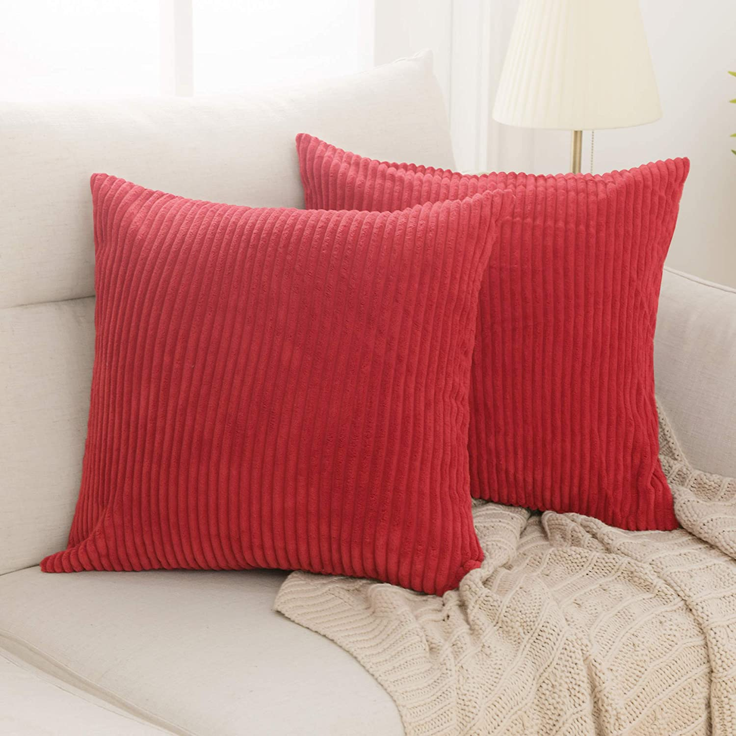 Deconovo Christmas Decorations Pack of 2 Cushion Covers for Bedroom Soft Corduroy Throw Pillow Cover with Stripes Machine Washable Pillowcase for Bedroom 20x20 in True Red
