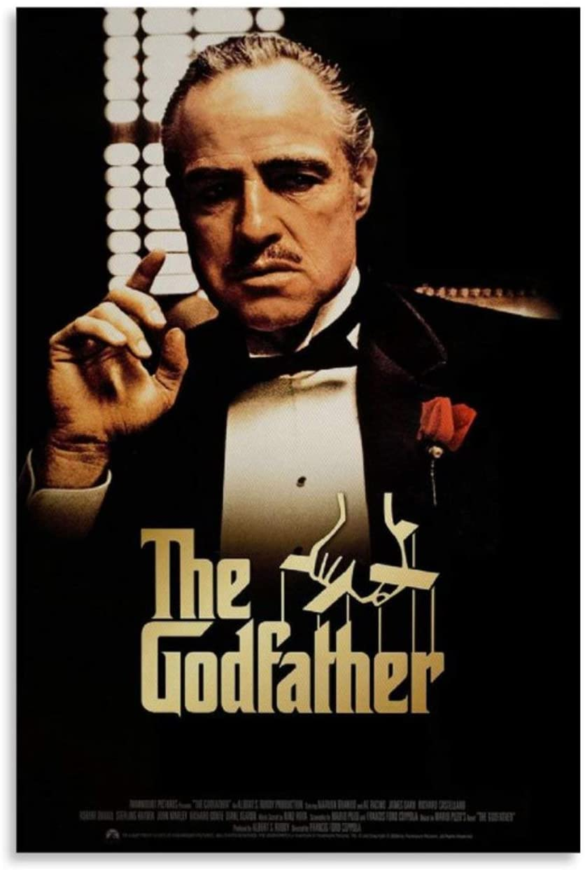 WUFENG The Godfather Movie Marlon Brando 7 Movie Poster Wall Art Framed Oil Paintings Printed on Canvas for Home Decorations Pictures Hanging for Living Room Bedroom Ready to Hang 12x18inch(30x45cm)