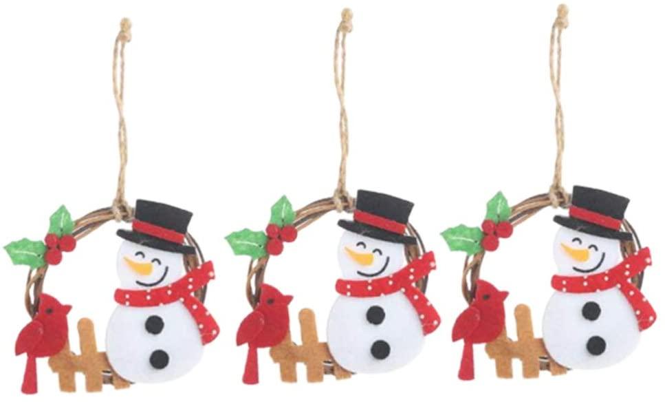 Amosfun 3Pcs Christmas Doll Wreath Grapevine Wreath Indoor Winter Holiday Wreaths Front Door Christmas Decoration (Snowman)