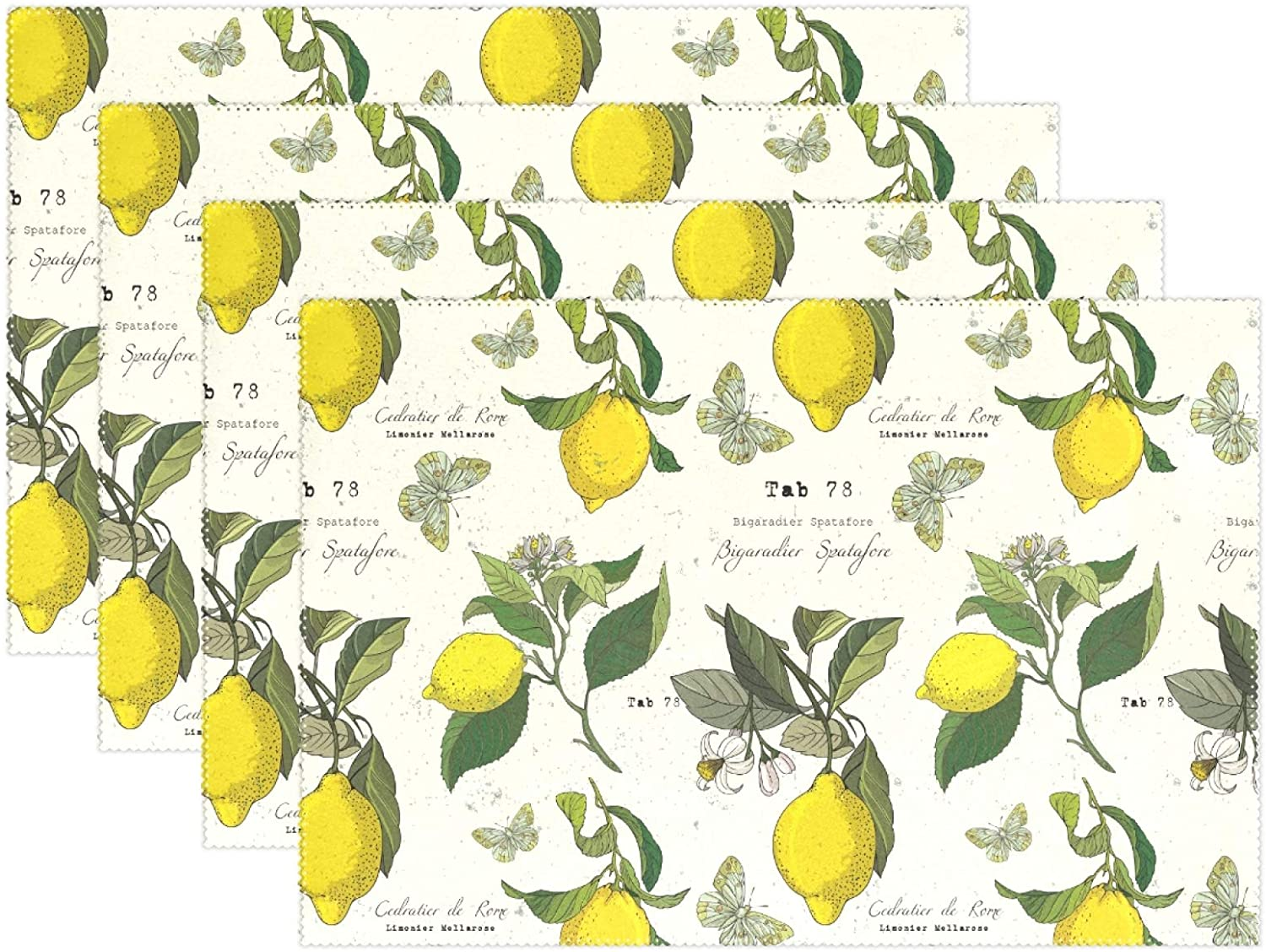 Oreayn Lemon Rectangle Placemat for Dinning Table, Table Mat for Kitchen XLarge Waterproof Washable Table Decor Set of 4