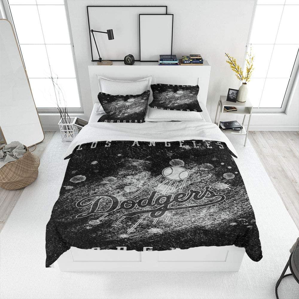 Auronora Aldingt Los-Angeles-Do-dgers Bedding Duvet Cover Set(Cal KingSize) 1 Duvet Cover and 2 Pillowcases, Super Soft and Easy Care