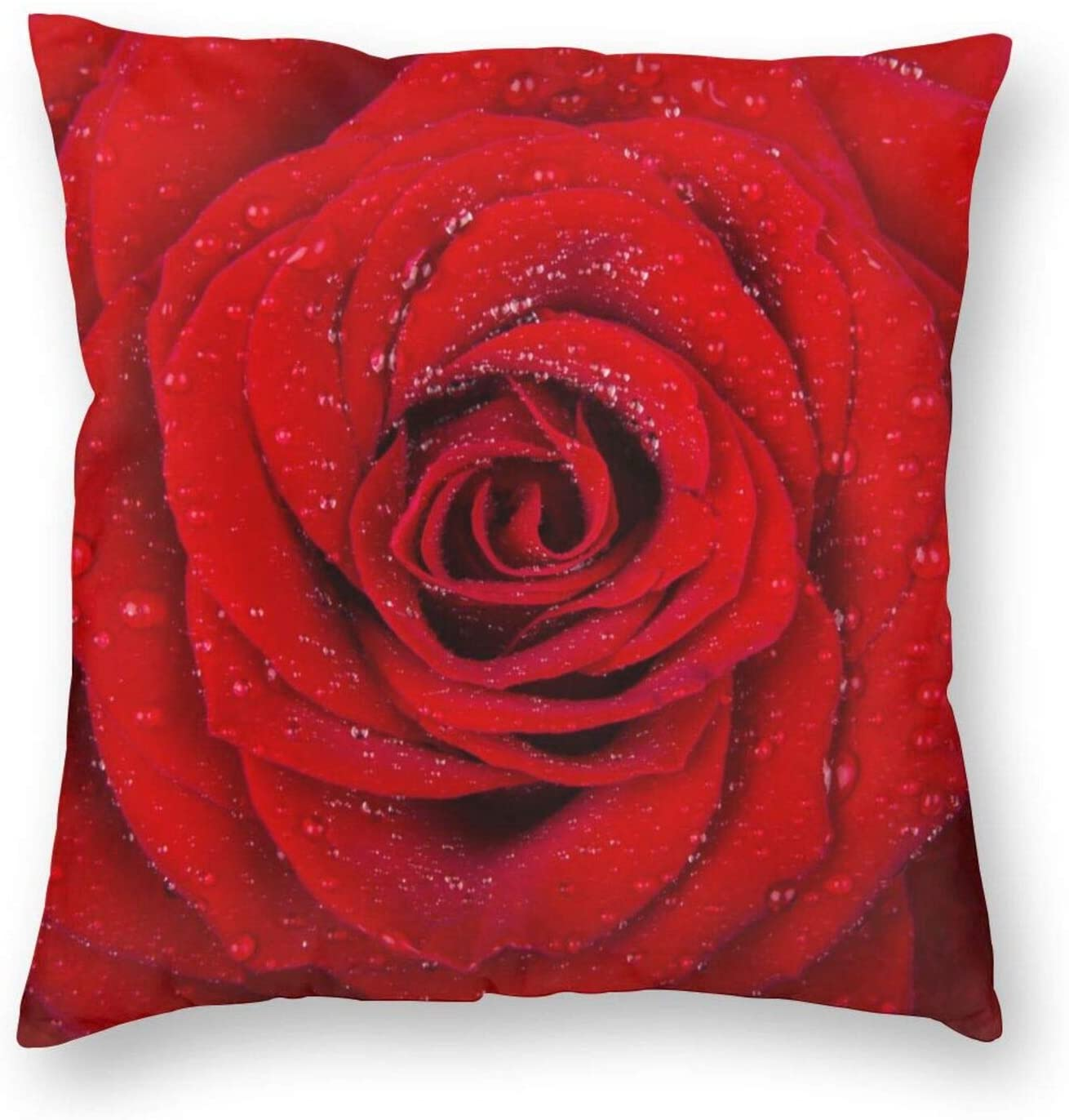Yaateeh Red Rose with Water Drop Decorative Throw Pillow Covers 18x18 Inch Pillows Case Square Cushion Cover Cases Pillowcase Sofa Home Decor for Couch Bed Patio Car