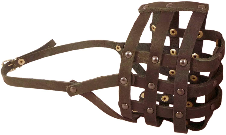 Genuime Leather Dog Basket Dog Muzzle #111 (Circumference 14.3