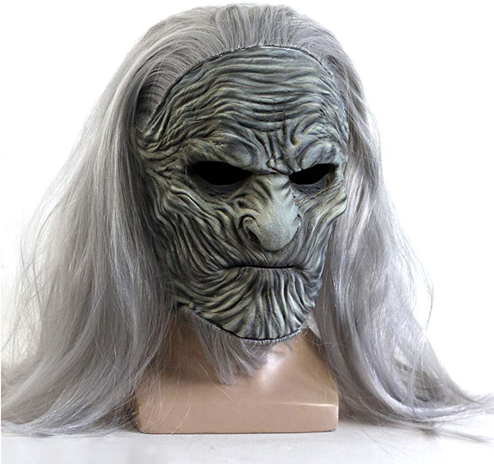 Game of Thrones Ghost Night King Latex Wig Mask Halloween Horror Headgear White Gray