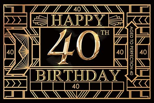 Baocicco 12x10ft Gatsby Photography Background for Happy 40th Birthday Backdrop Aged to Perfection 40 Golden 40th Birthday Party Shiny 40 Themed Party PhotoCall Booth Props