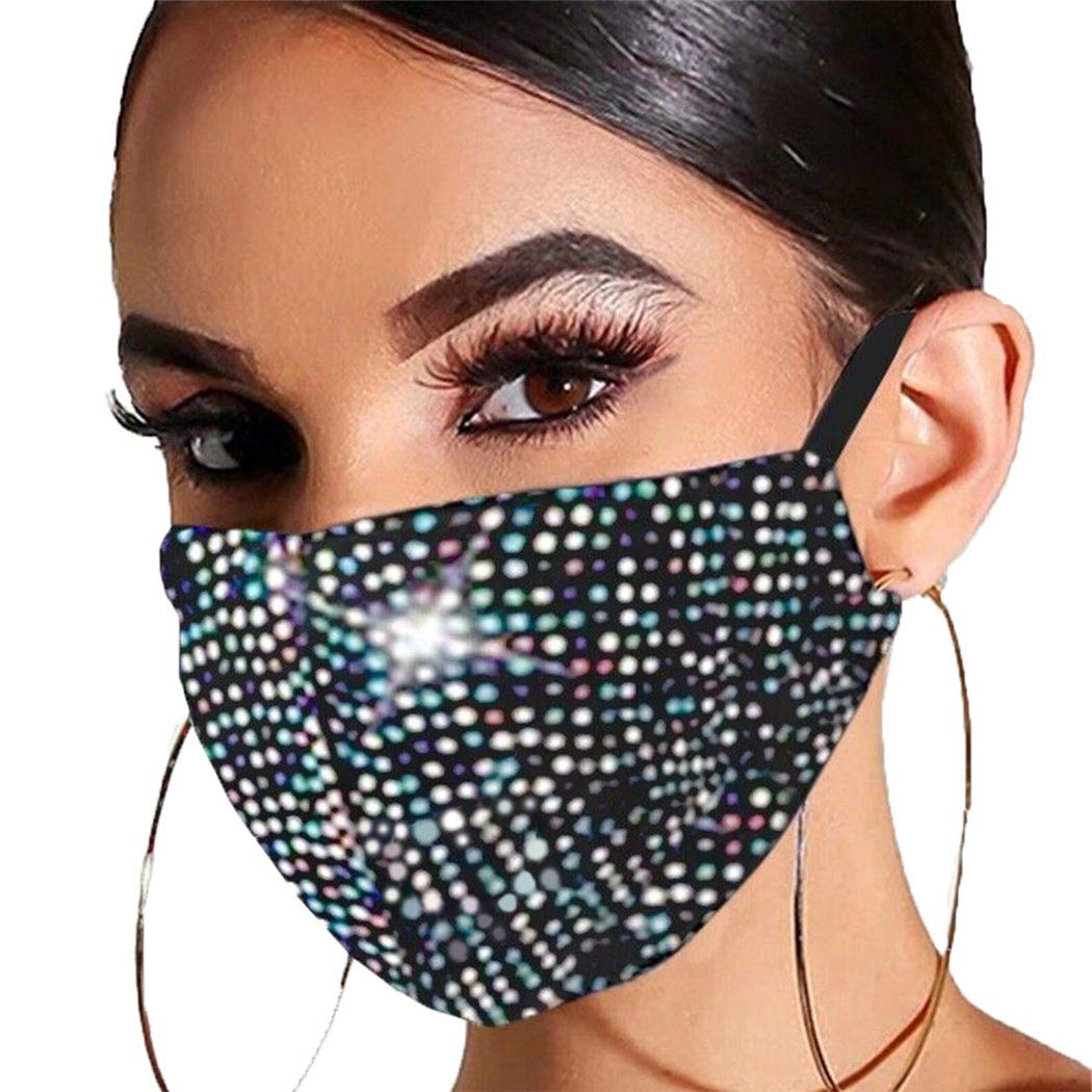 Barode Sparkle Rhinestones Mask Crystal Black Masquerade Clubwear Halloween Face Masks Jewelry for Women and Girls (Colorful)