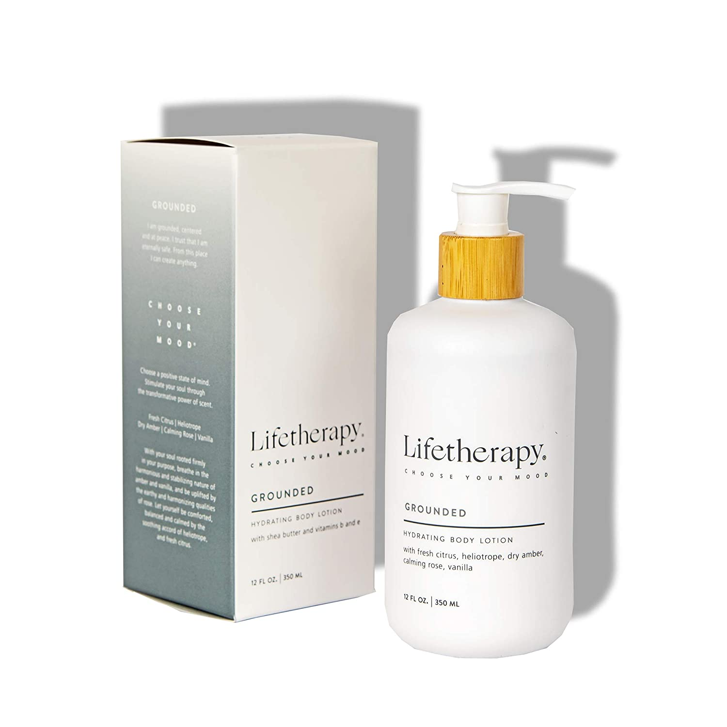 Lifetherapy Hydrating Lotion For Hand & Body | Non Greasy Lightweight Lotion Made with Shea Butter (Grounded)