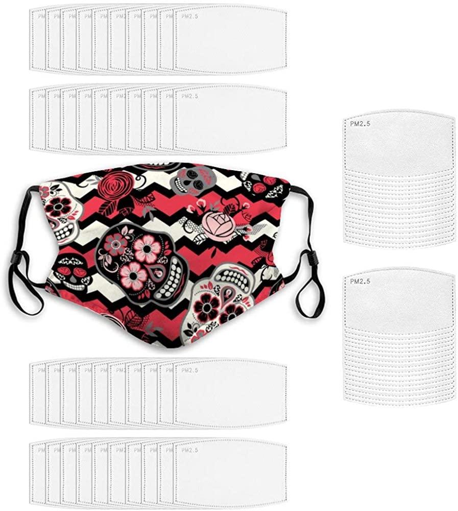 Face Bandana With 60 Pcs Filter Trendy Dustproof Polyester - Sugar Skulls Floral
