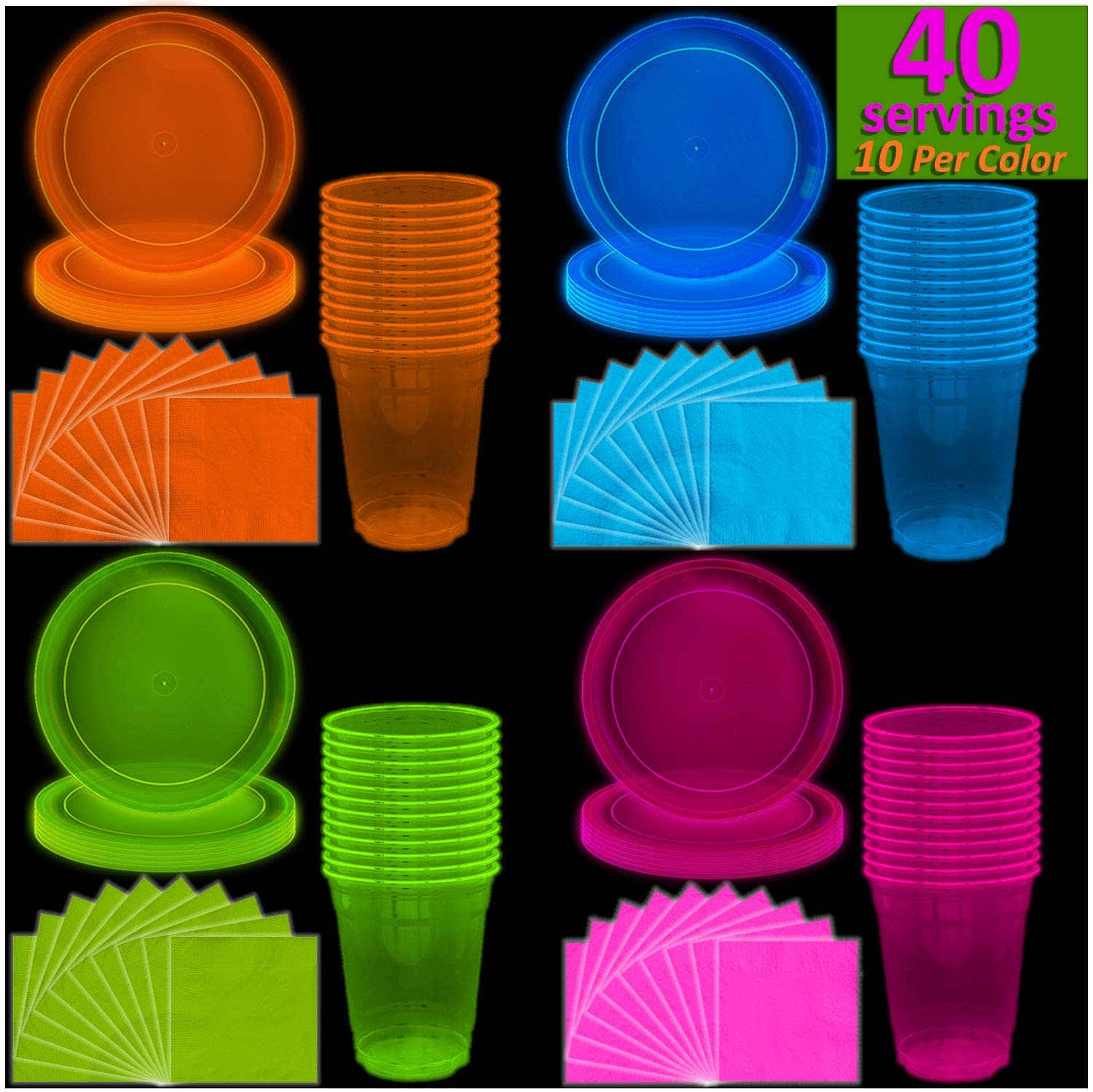 Neon Plates (9), Cups (12 oz) & Napkins - 40 Servings, 4 colors - Black Light Party Supplies, Glow-in-the-Dark with UV Light - for Birthdays, 80s Theme, Fiesta, clubs