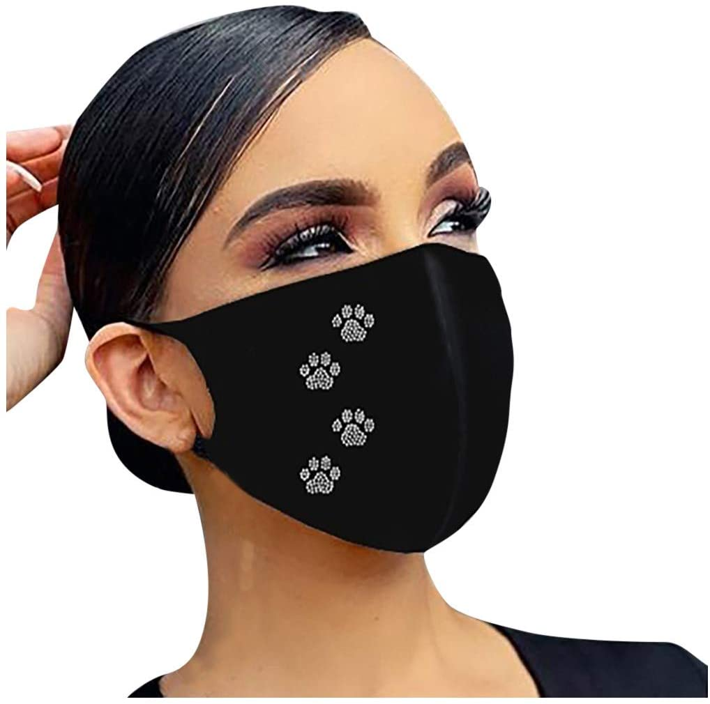 Jieson【USA in Stock Fast Delivery】Fashion Face_Mask_Covering_Cloth For Women Drill Design Outdoor Face Bandana Washable Reusable Breathable Dustproof Fabric