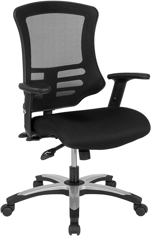 MFO High Back Black Mesh Multifunction Executive Swivel Ergonomic Chair, Foam Seat & Adj. Arms