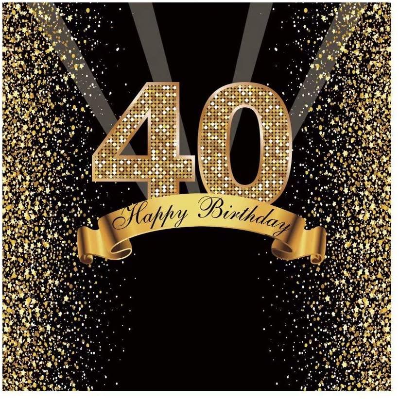 OFILA 40th Birthday Backdrop 8x8ft Happy Birthday Photos Background Glitters Birthday Photos Shoot 40th Birthday Party Decoration Birthday Portraits Props