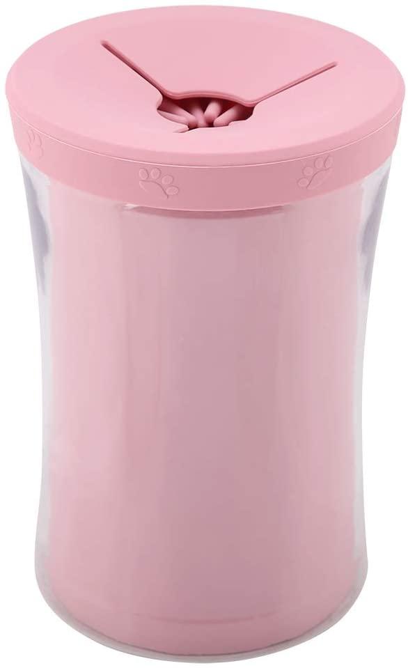 Pet Foot Washing Cup, Fashion Sakura Pink Dog Cat Paw 360 Degree Cleaner Pet Washing Cleaning Cup Tool