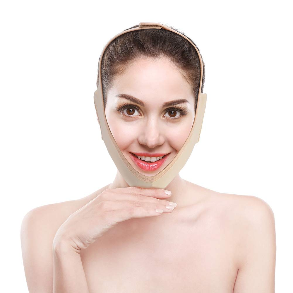 Face Slimming Strap Facial Cheek V Shape Lift Up Thin Mask Strap Face Line Smooth Breathable Compression Double Chin Reduce Bandage for Men and Women(S)