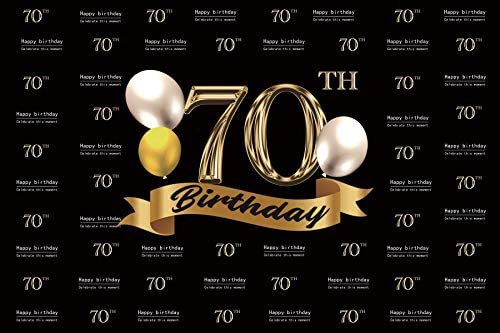 Baocicco 5x3ft Polyester Photography Backdrop for 70th Happy Birthday Celebrate This Moment Background Gold and Silver Balloons Banner Birthday Party PhotoCall Studio Video Props Banner Booth