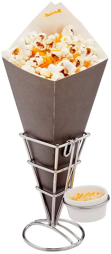 Conetek 11.5-Inch Eco-Friendly Black Finger Food Cones with Built-in Condiment Dipping Pocket: Perfect for Appetizers - Food-Safe Paper Cone - Disposable and Recyclable - 100-CT