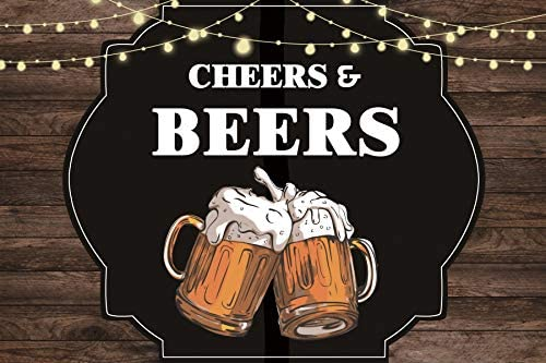 Baocicco 8x6.5ft Cheers Beers Backdrop Rustic Wood Board Cartoon Fairy Light Decoration Glass of Beers Photography Background Congratulations Birthday Party Glee Feast Office Party Photo