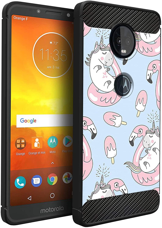 CasesOnDeck Case Compatible with [Motorola Moto G6 Play   Moto G6 Forge] Moto G6 Play Design Case, Slim Black Flexible Sleek Shock Protection TPU Case (Flamingo Unicorn)