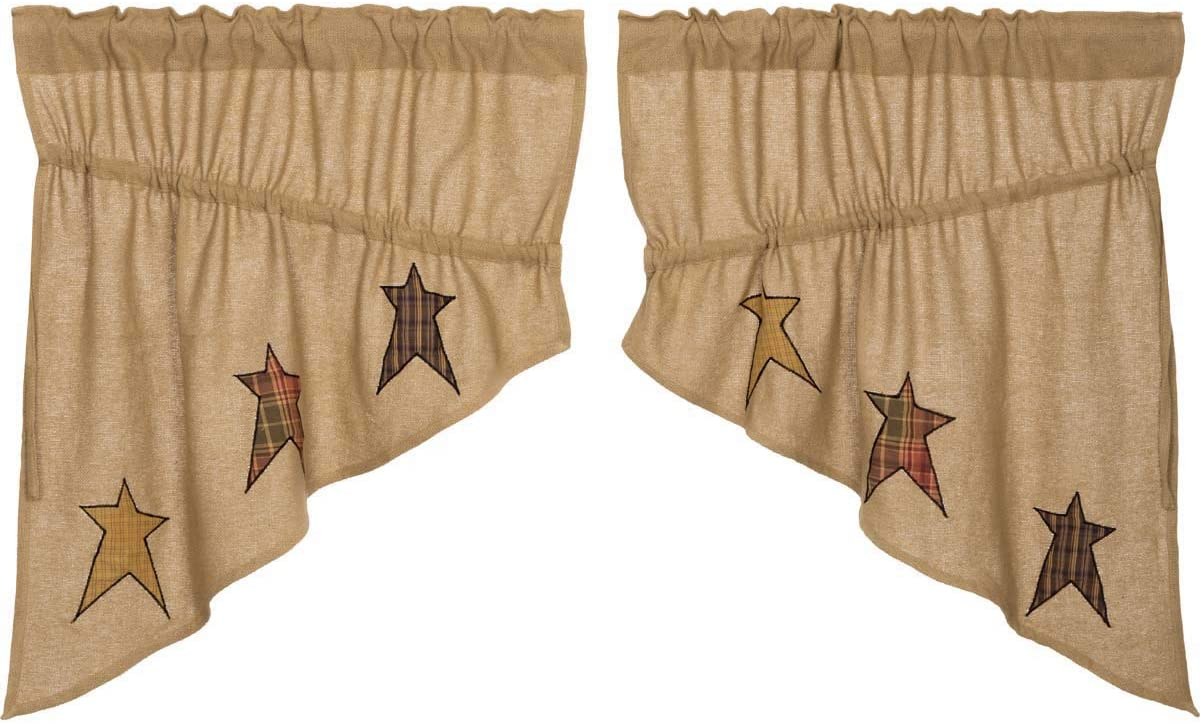 VHC Brands Stratton Burlap Applique Star Prairie Swag Set of 2 36x36x18 Country Curtains, Tan