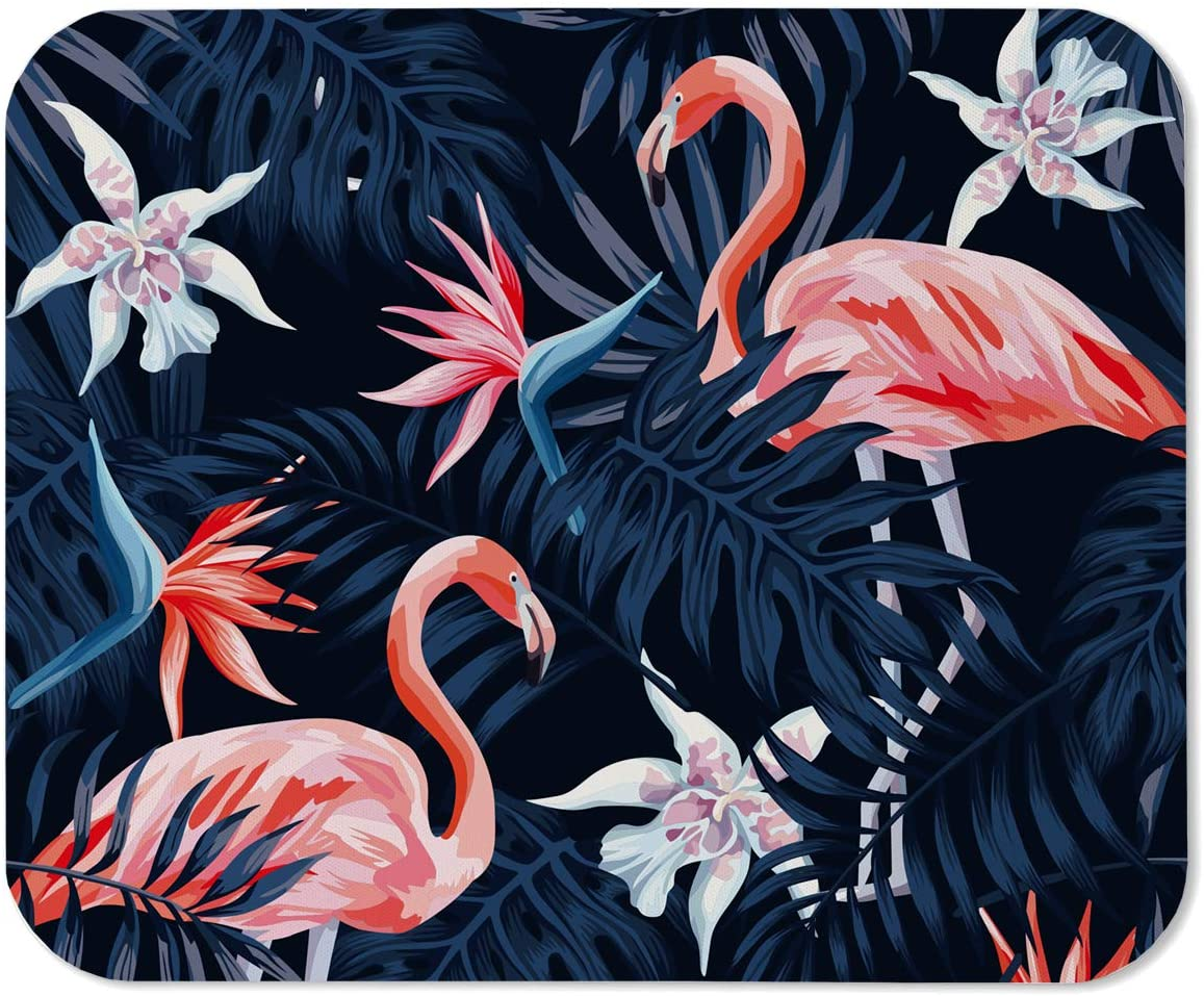 Yeuss Flamingo Mouse Pad Rectangular Non-Slip Mousepad, Tropical Bird Pink Flamingo Exotic Flower Bird of Paradise Dark Blue Palm Leaf Black Background Pink Blue,200mm x 240mm
