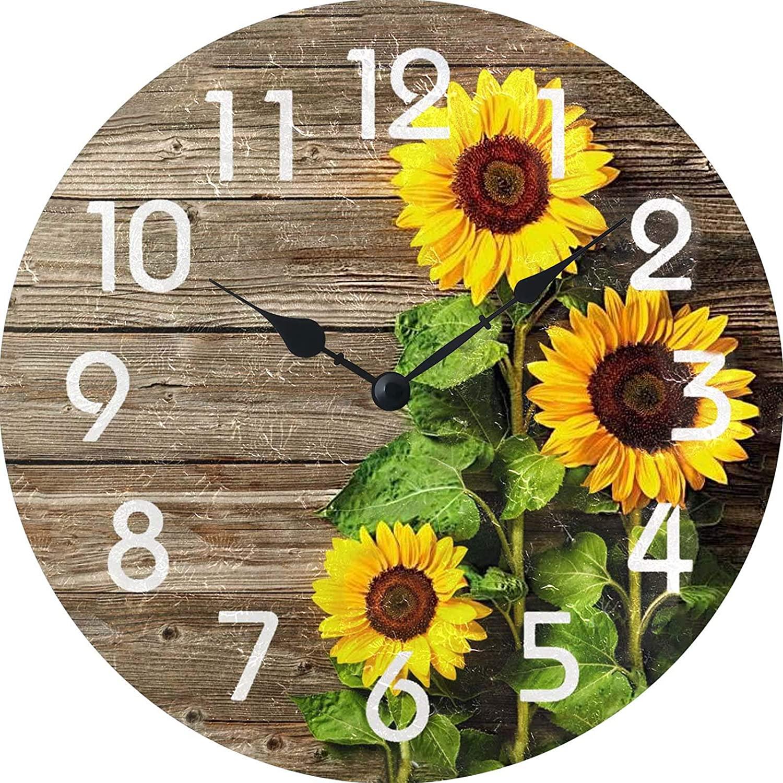 XinsFaith Beautiful Sunflowers-Creative/Modern Clock-Frameless Wall Clock-Decorative Wall Clock-9.5 Inch Battery Operated Quartzall Clocks Non Ticking
