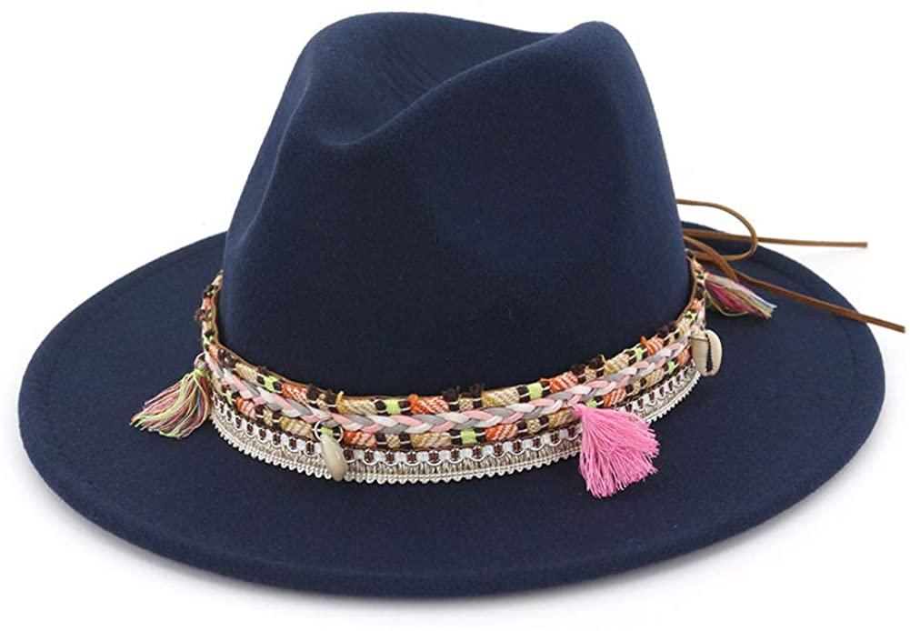 Women's Felt Fedora Hat Wide Brim Panama Hats with Tassel