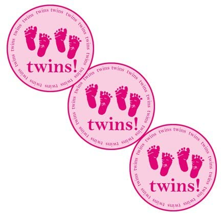 Twins Pink Sticker (24 Pieces) by Partypro