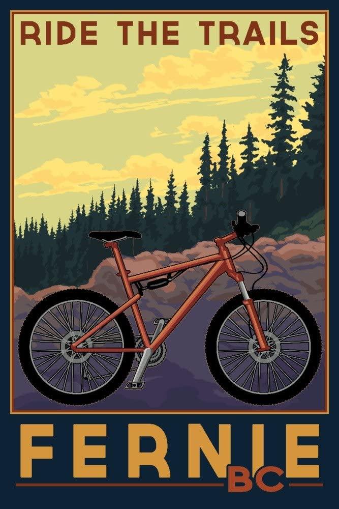 Fernie, British Columbia, Canada - Ride the Trails (9x12 Art Print, Wall Decor Travel Poster)