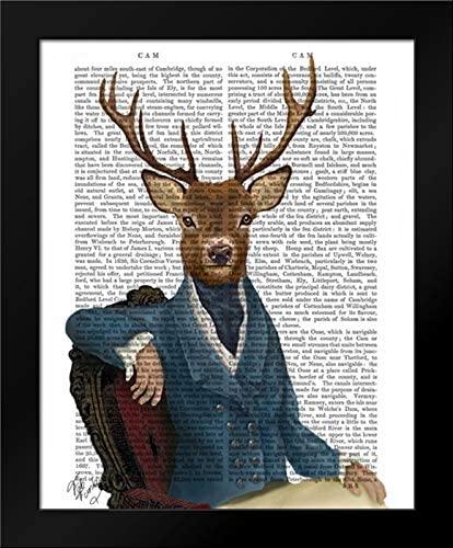 Distinguished Deer Portrait 20x24 Framed Art Print by Fab Funky