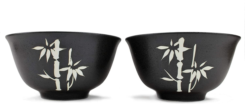 2 Piece Large Japanese Noodle Bowl Set ~ 41-Ounce Porcelain Ramen Noodle Bowls Hand-Painted Black Bamboo for Ramen Noodle Salad Udon Soba Pho Asian Noodles (F15743)