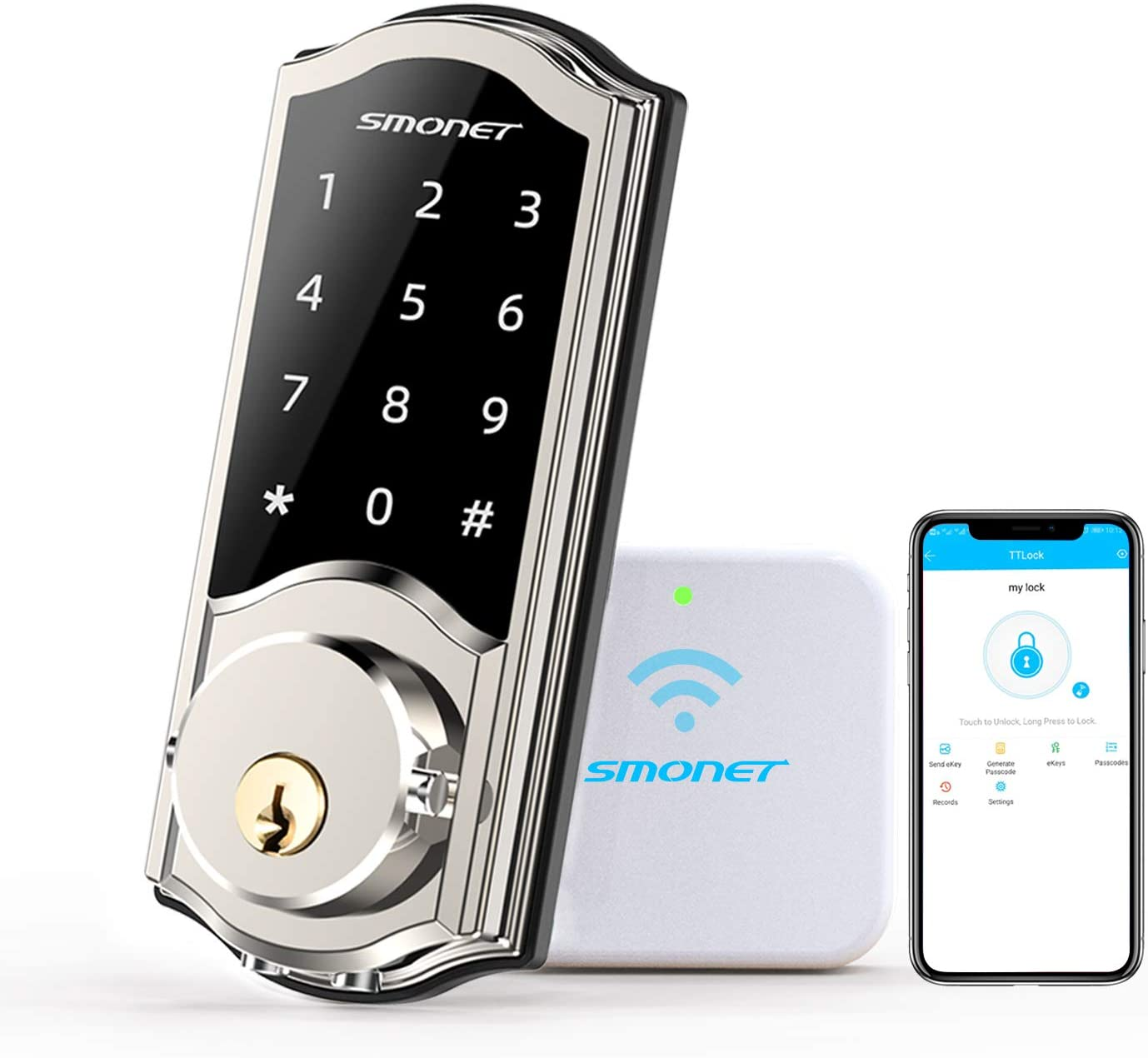 WiFi Smart Deadbolt,SMONET Electronic Digital Bluetooth Lock,Keyless Entry Door Lock with Keypads,Gateway Hub Included, Work with Alexa,APP,Code for Home Apartment Front Door,Silver