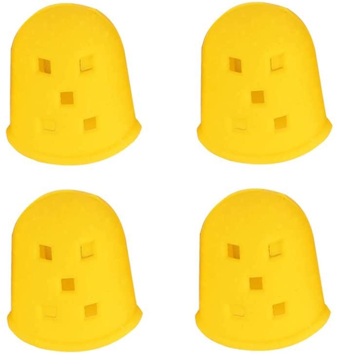 LIOOBO 4 Pcs Guitar Finger Protectors Silicone Picks for Ukulele Guitar Mandolin Strings Instrument- Yellow (L)