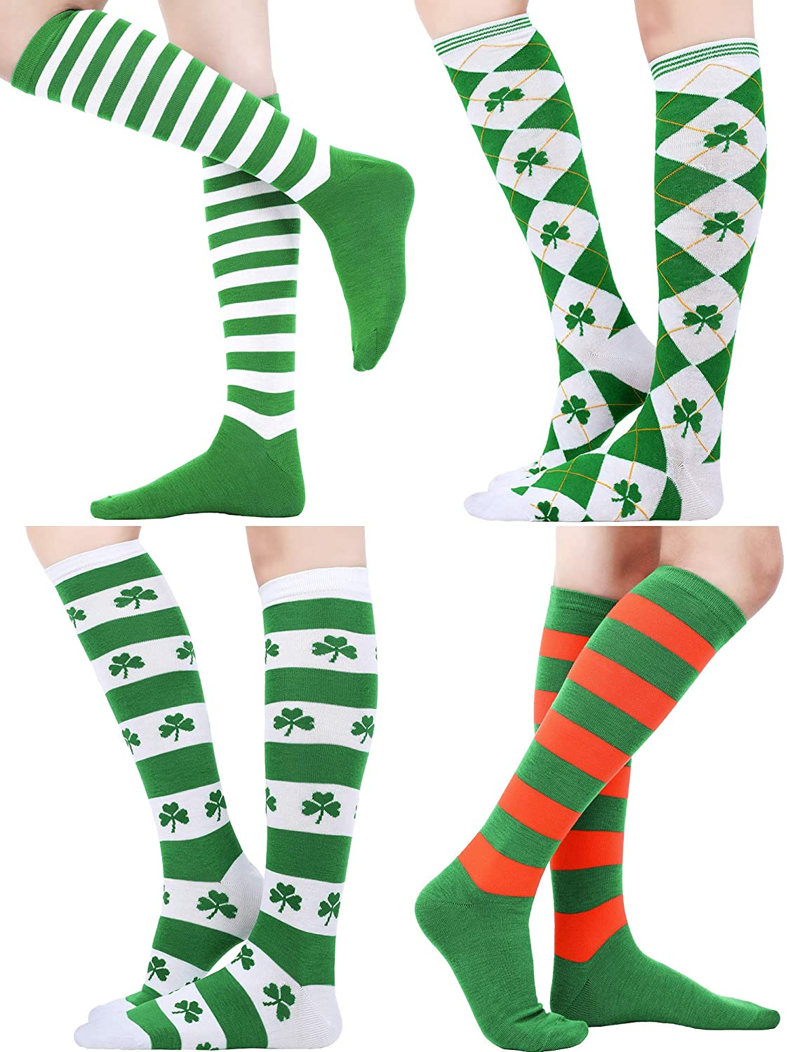4 Pairs Christmas Opaque Over Knee Socks Striped Thigh High Stocking for Christmas Costume Party, 4 Styles