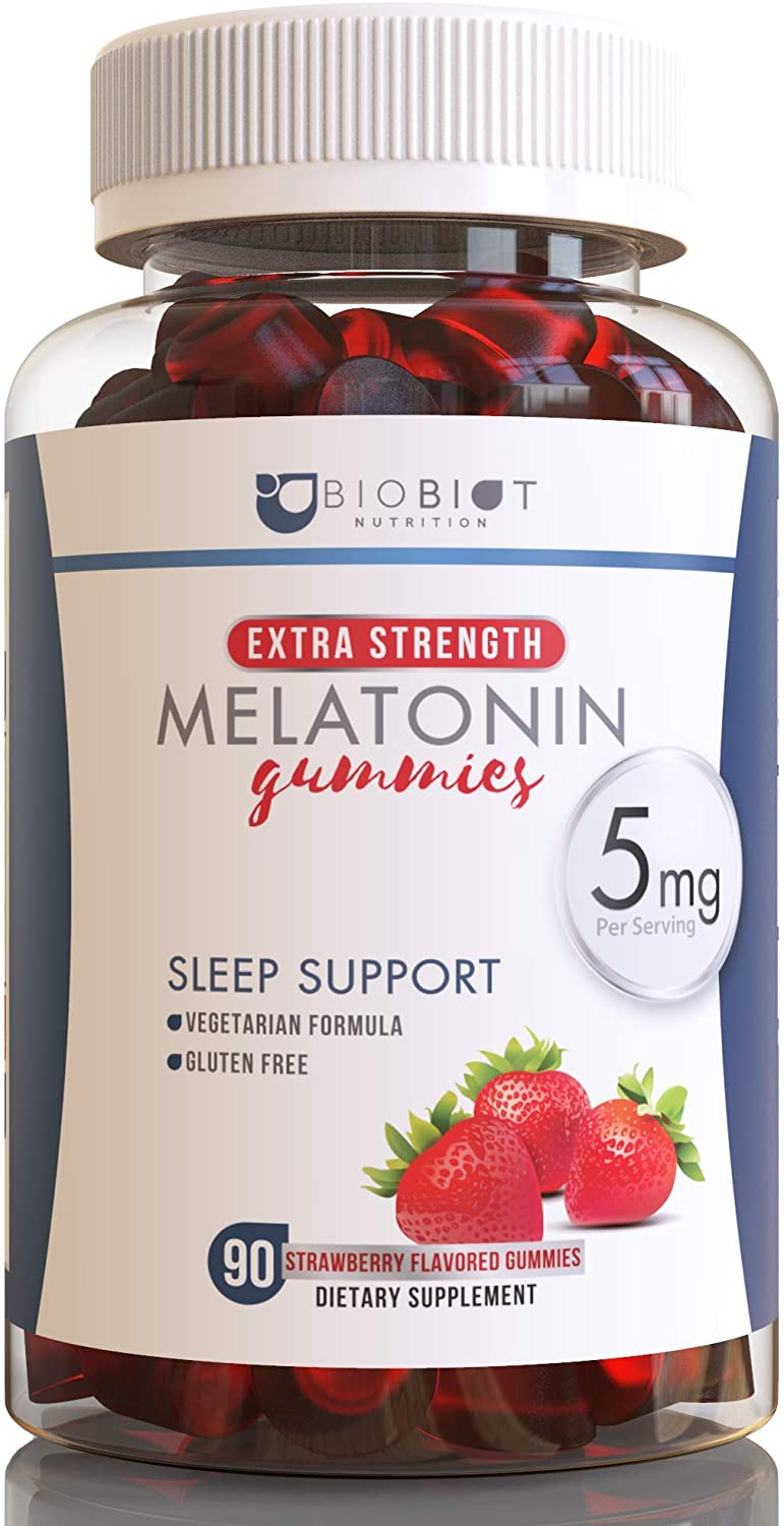 BIOBIOT Melatonin Gummy 5mg Supplement Complex for Supporting Restful Sleep, 90 Strawberry Flavored Gummies for Adults