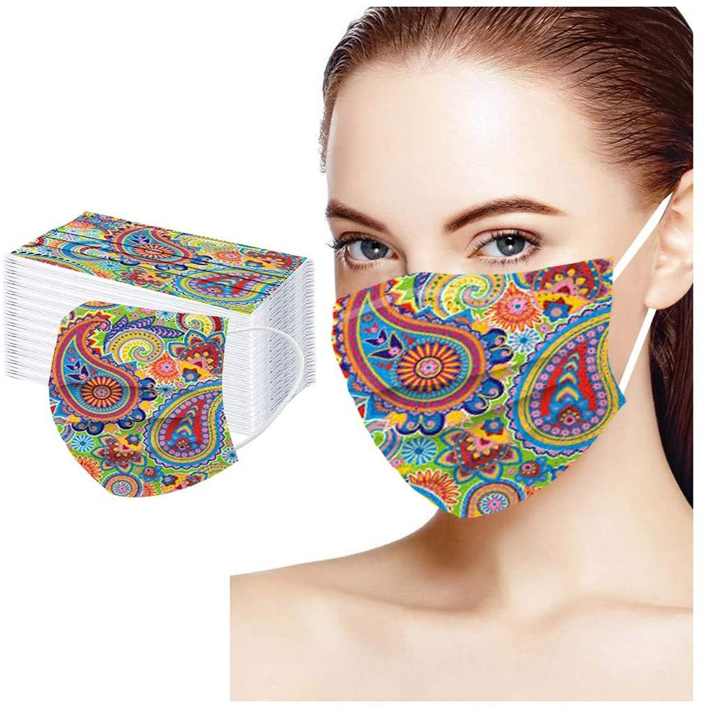 100 PC New Disposable Adult Face Mask,Colored Pattern Print 3 Ply Non-Woven Fabric Comfortable Breathable Tie dye Pattern for Unisex Men Women Bandanas Convenient and Comfortable Face Mask