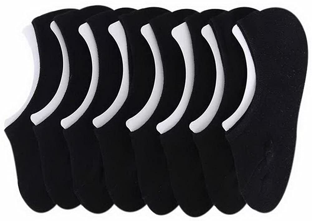 8 Pairs Women Non-slip Invisible Socks Spring And Summer Cotton Low Socks, Black