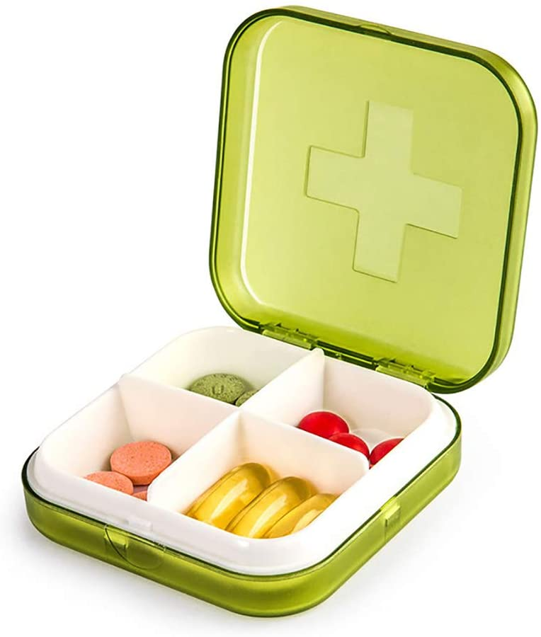 Mini Pill Case, 4-in-1 Pill Organizer, Portable Pill Box for Pills/Vitamin/Fish Oil/Supplements/Healthcare Product (Green)