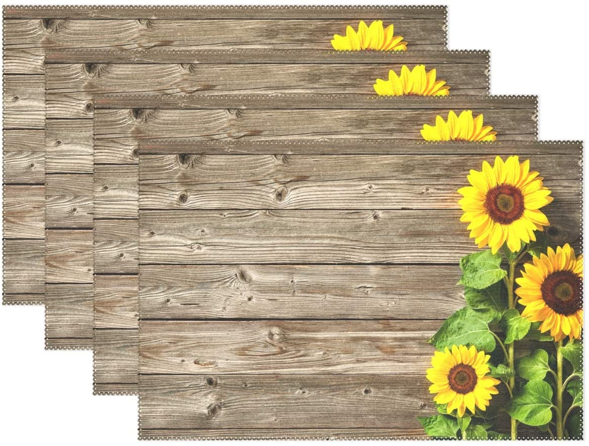 Aflyko Placemat Set of 4 for Dining Table Golden Sunflower Washable Polyester Table Mats 12 x 18 Inch