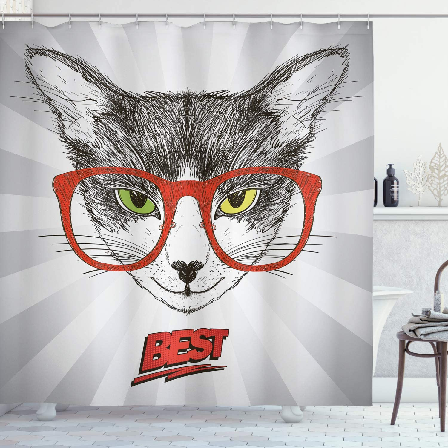 Ambesonne Nerdy Shower Curtain, Cat Portrait Hipster Glasses on Starburst Stripes Best Wording, Cloth Fabric Bathroom Decor Set with Hooks, 84