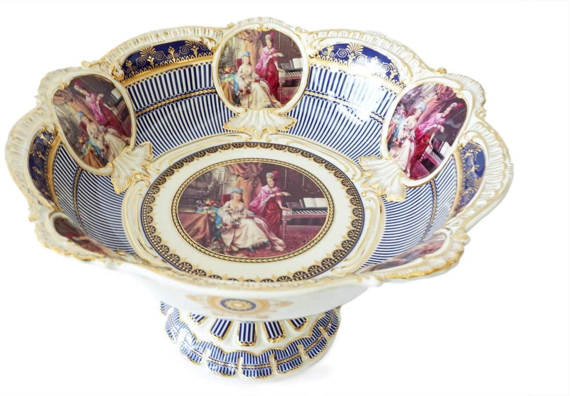 Royalty Porcelain Fruit Bowl, Serving Dish White Centerpiece Bowl, Royal Style (Blue)