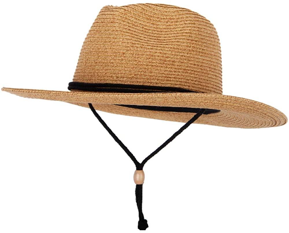 Womens Tweed Paper Braid Large Brim Fedora Hat with Chin Cord